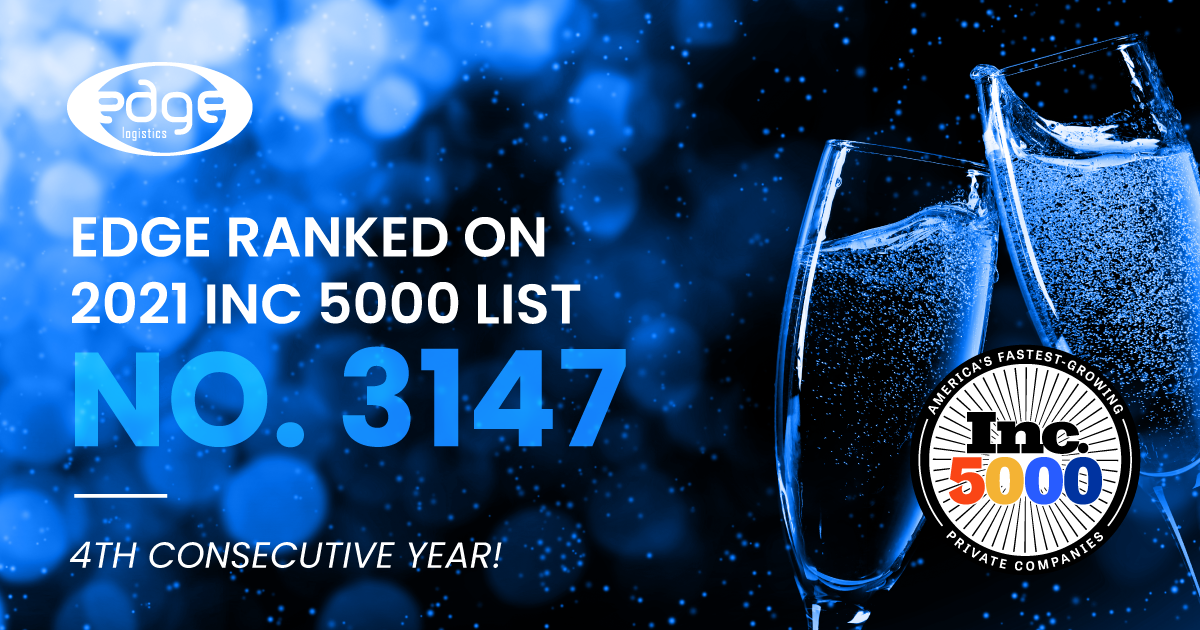 Edge Logistics Achieves Ranking on INC 5000 List for 4th Consecutive Year